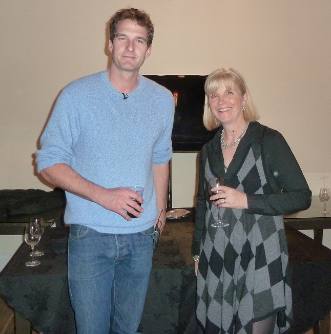 Dan Snow at the Stratford Literary Festival with Sue James of Sheldon Bosley