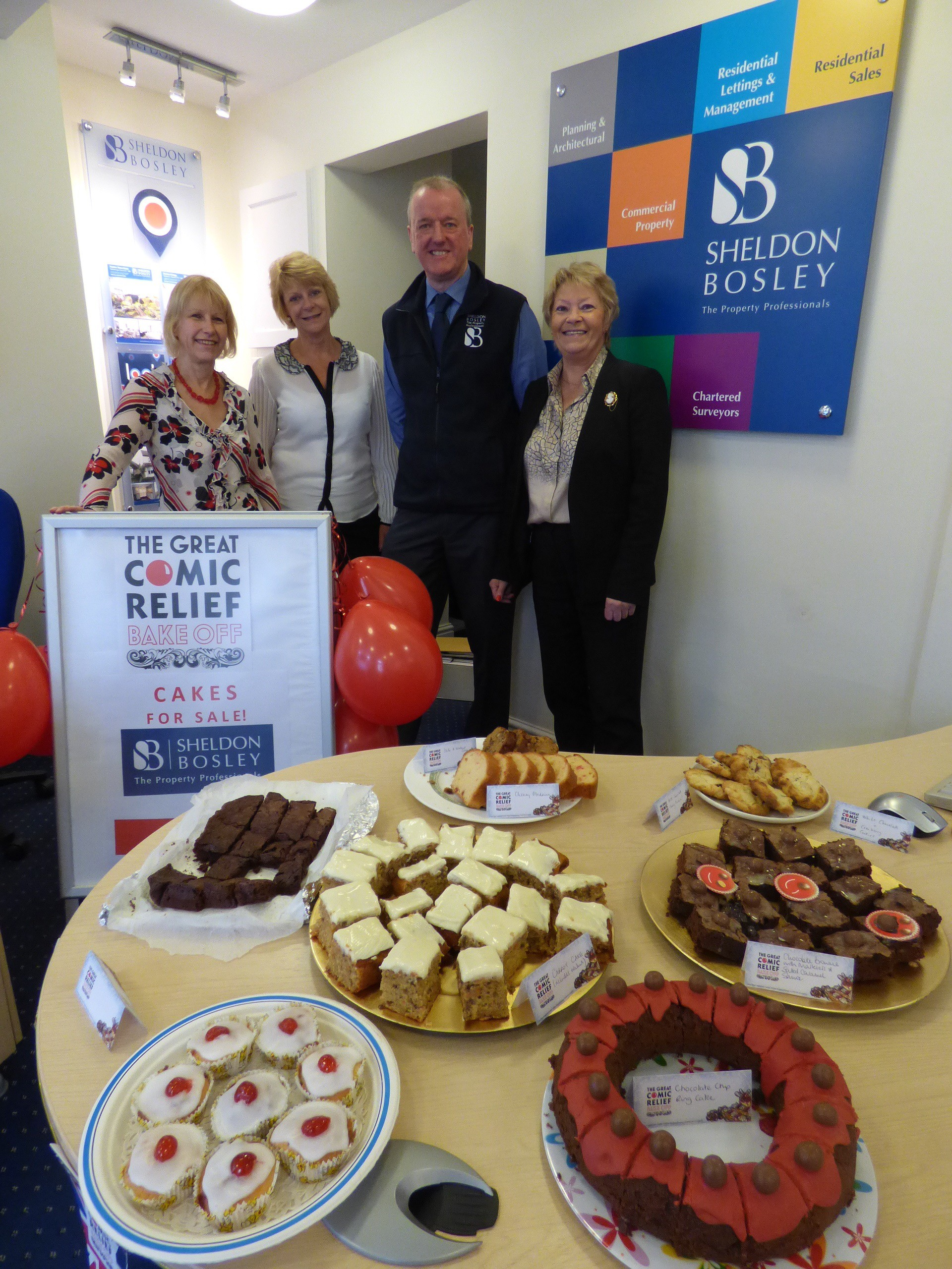 comic relief bake sale 2015 Sheldon Bosley reception