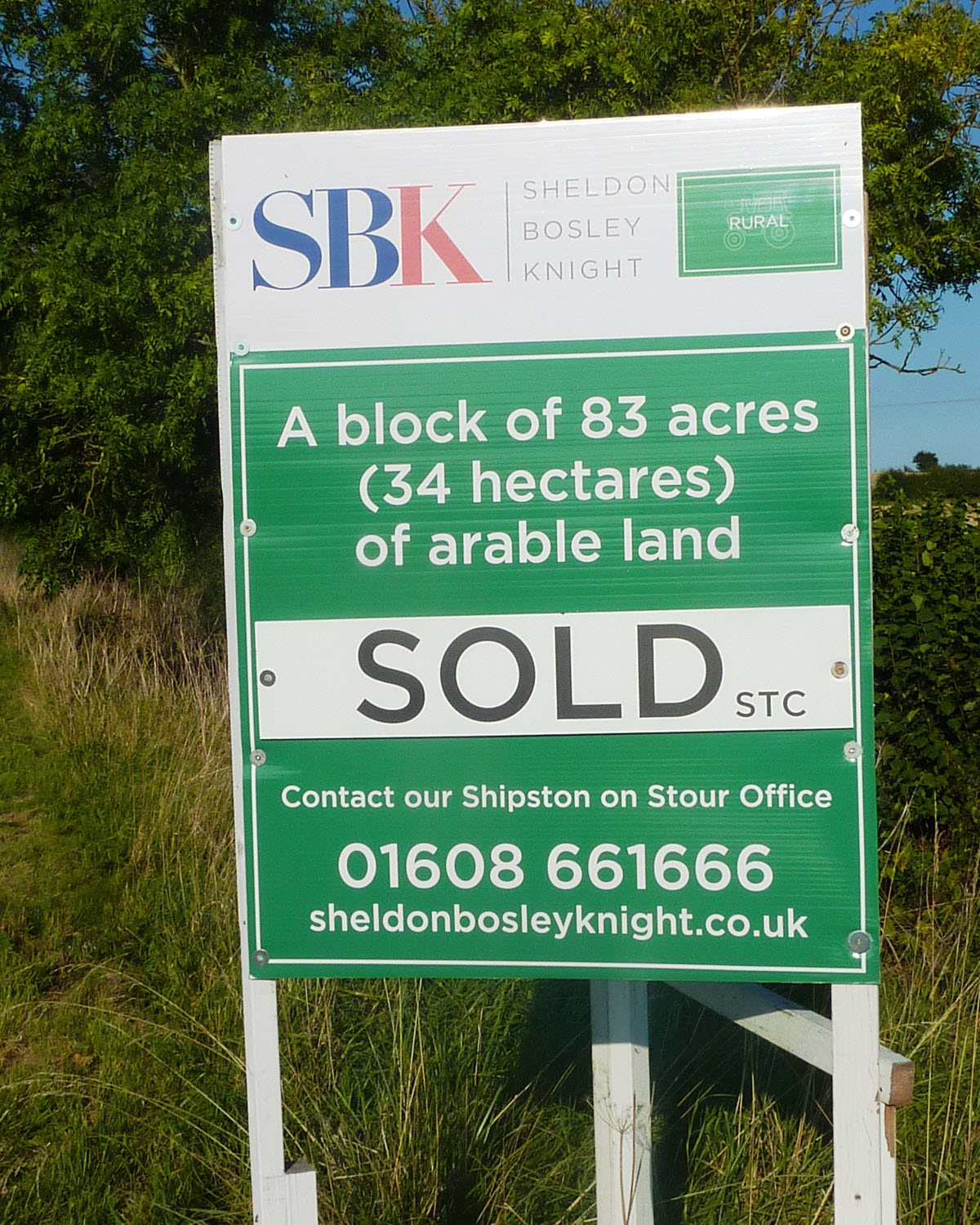 SBK Sold Sign on Arable Land